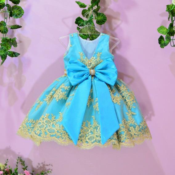 Vestido Festa Infantil De Renda Tiffany Com Dourado