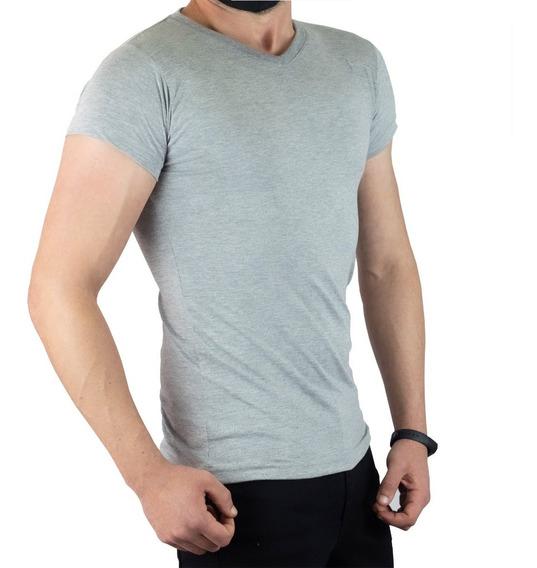 Camisa Básica Lisa Gola V Funda 100% Algodão C95 Vcstilo