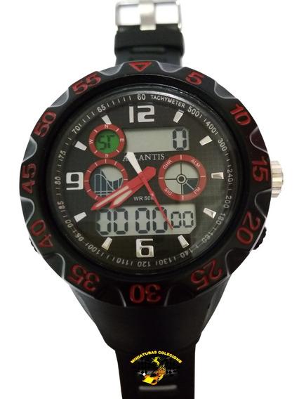 Relógio Masculino Esportivo G5518 Atlantis Anadigi Vermelho