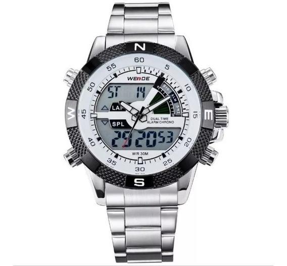 Relógio Masculino Weide Anadigi Prata E Branco C/ Caixa