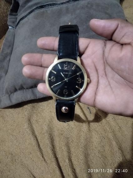 Relógio Lince Prova Dgua Dourado Fosco, Pulseira De Couro