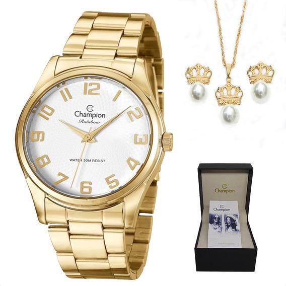 Kit Relógio Feminino Champion Dourado Cn29883j Com Semi Jóia