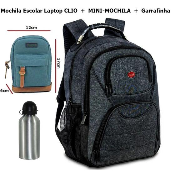 Mochila Escolar Notebook Clio + Mini Mochila + Garrafinha