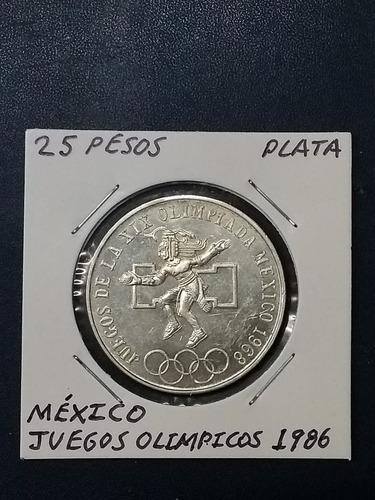 Ganga Moneda 25 Pesos Olímpica 1986 Plata