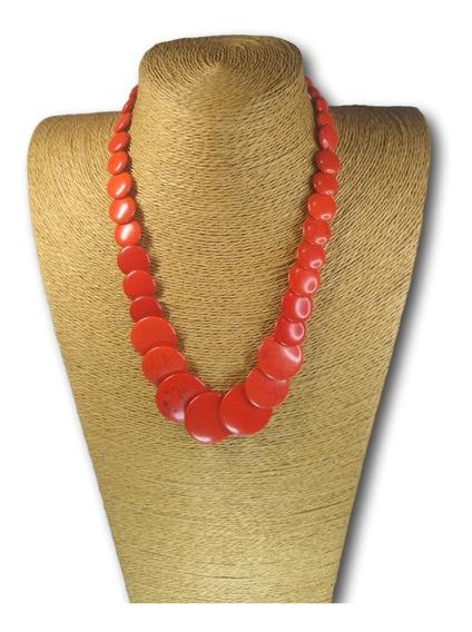 Colar Pedra Natural Howlita Coral Ref: 4194 - 4 Unidades