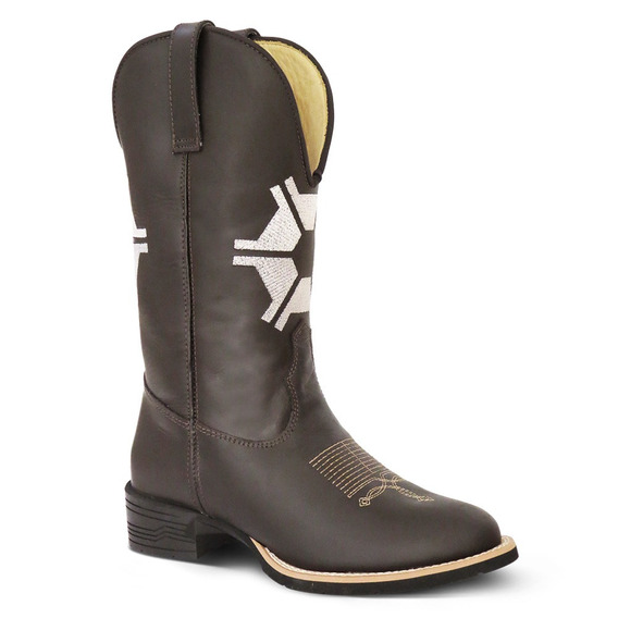 Bota Country Feminina Texana Agronomia Couro Crazy Hors Cafe