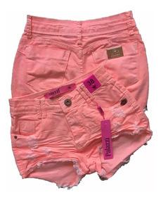 Short Jeans Feminino Cintura Alta Palazzi Neon Destroyed