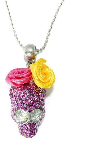 Colar Caveira Com Rosa Lilás