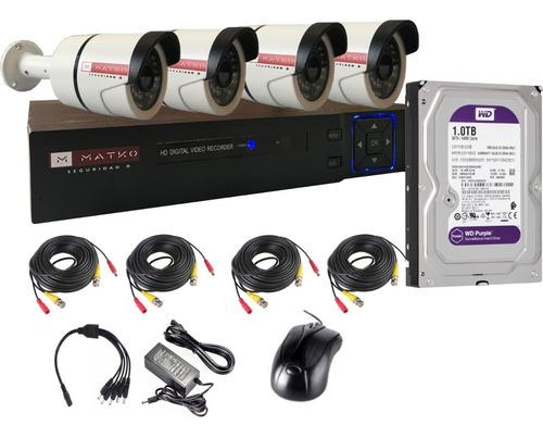 Camara Seguridad Kit 4 Fullhd 8ch Disco 1tb Matko Seguridad