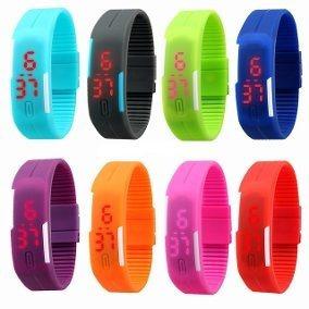 Relogio Led Sport Bracelet Colorido Kit Com 10 Peças