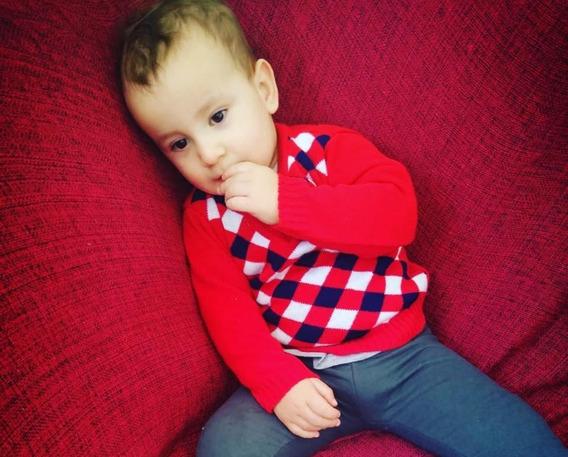 Blusa Suéter Losangos Infantil Lã