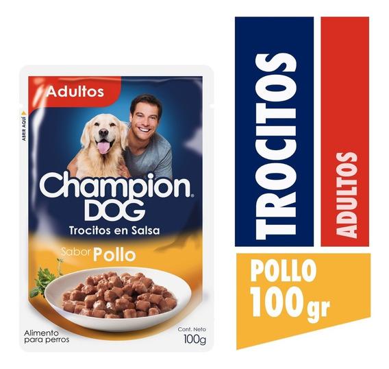 Alimento Perro Champion Trocitos Salsa Pollo 24x100g