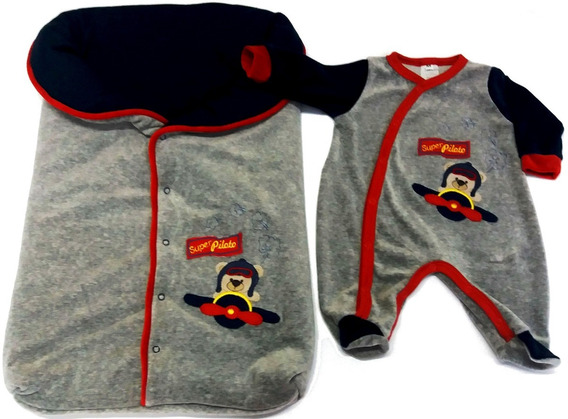 Saída Maternidade C/saco Dormir - Bordado Urso Super Piloto