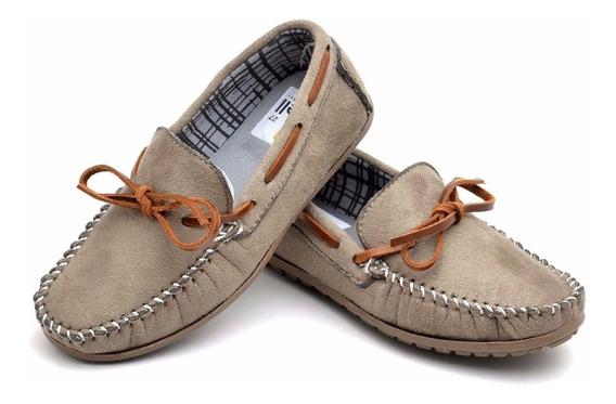 Sapato Mocassim Masculino Infantil Camurça Costurado