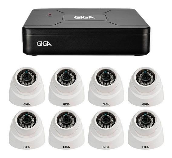 Kit Giga 8 Câmeras Segurança 1mp Hd 720p Dvr 8 Canais 4 Em 1