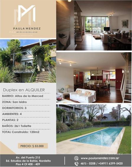 Departamento - Duplex - Alquiler - 4 Ambientes - Altos De La Merced - San Isidro