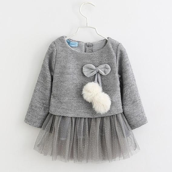 Vestido Infantil Bebe Manga Longa Xadrez Inverno