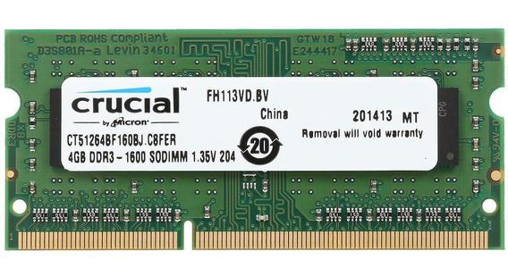 Memoria Sodimm Ddr3 1600mhz 4gb Crucial Ct51264bf160bj
