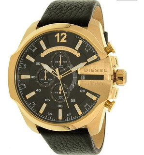 Reloj Hombre Diesel Mega Chief Dorado Crono Cuero Dz4344