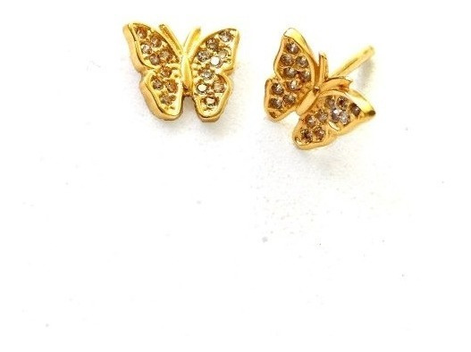 Brinco De Ouro 18k Borboleta + Diamantes Naturais Jkilat U16