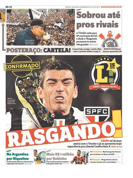 +m+ Jornal Lance Corinthians Campeão Mundial Chegada S.paulo