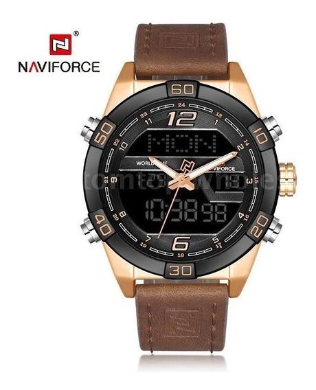 Relógio Masculino Analógico/digital Naviforce Luxo Champangn