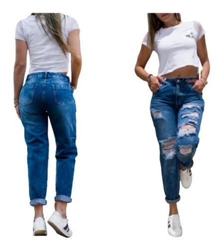 Pantalon Boyfriend  Destroyer Azul Para Dama