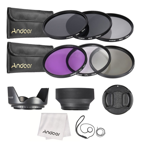 Andoer Kit De Filtro De Lente De 72mm Uv + Cpl + Fld + Nd (n