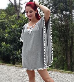 Vestido Feminino Poncho Branco Pom Pom Saída Praia Réveillon