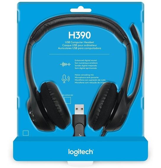 Headset Logitech H390 Áudio Digital Em Couro Usb Preto Fone
