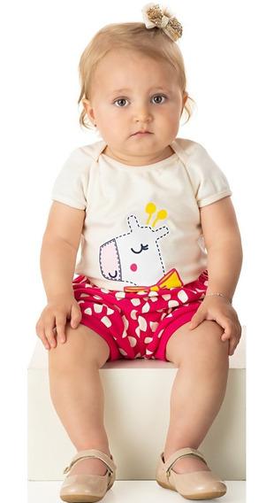 Roupa Bebê Menina Conjunto Body E Shorts Suedine Curto Verão
