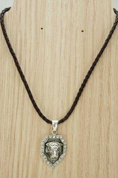 Colar Couro Escudo Tigre Bali Especial (l14,7) Prata 925