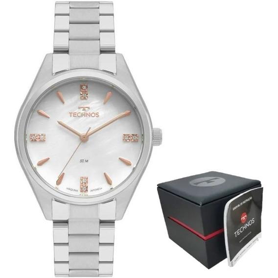 Relógio Technos Feminino Prateado Elegance 2036mkr/1b N. Fis
