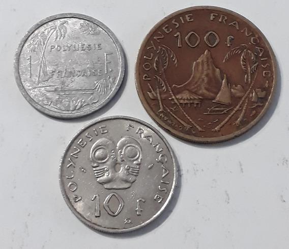 Polinesia X 3 Monedas 1 , 10 Y 100 Francos. Usados!!!!