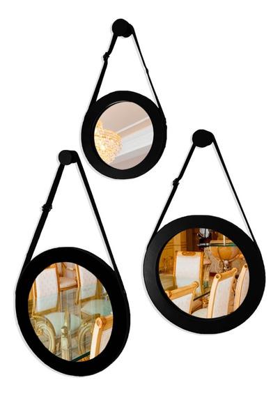 Conjunto 3 Espelhos Adnet Decorativo Vintage 28 22 17 Cm