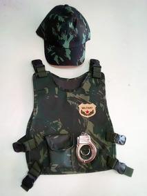 Fantasia Militar Colete Algemas E Boné Infantil