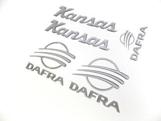 Kit Emblema Adesivo Resinado Dafra Kansas Custon Prata