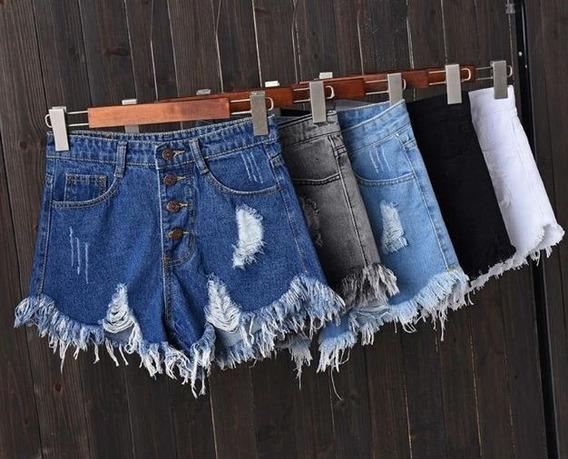 Shorts Jeans Feminino Cintura Alta Curto Puídos Com Botões
