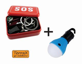 Kit Sobrevivência Alicate Lanterna + Lâmpada Led Camping