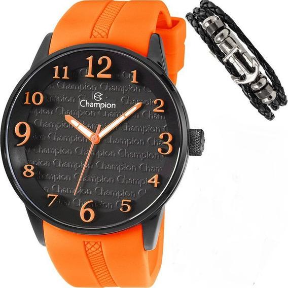 Relógio Masculino Pulseira Silicone Laranja Champion + Pulse