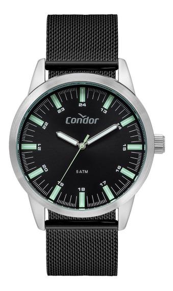 Relógio Condor Masculino Casual Fino Pulseira Slin Preto Nfe