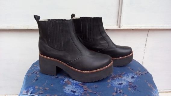 Botas Con Plataforma Negras Talle 40 Sin Uso Art 38