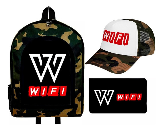 Combo Mochila + Cartuchera + Gorra Trucker Wifi Team Youtube