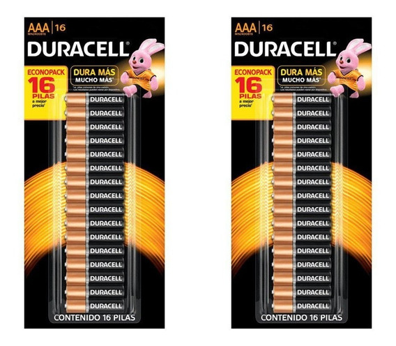 Kit 2 Blister Pilha Alcalina Pequena 32 Unid. Aaa Duracell