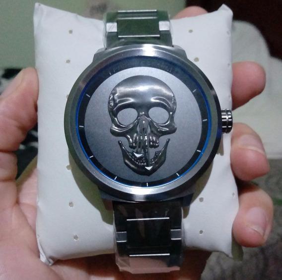 Relógio Caveira Grande Masculino Crânio 3d Prova Dágua Aço