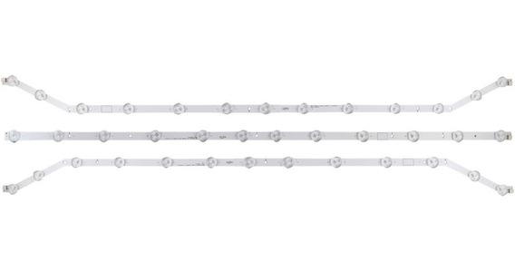 Kit 3 Barras Curvas Led Samsung Un40fh6203 Conector No Meio
