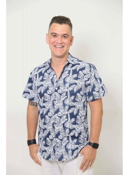 Camisa Social Manga Curta Azul Floresta
