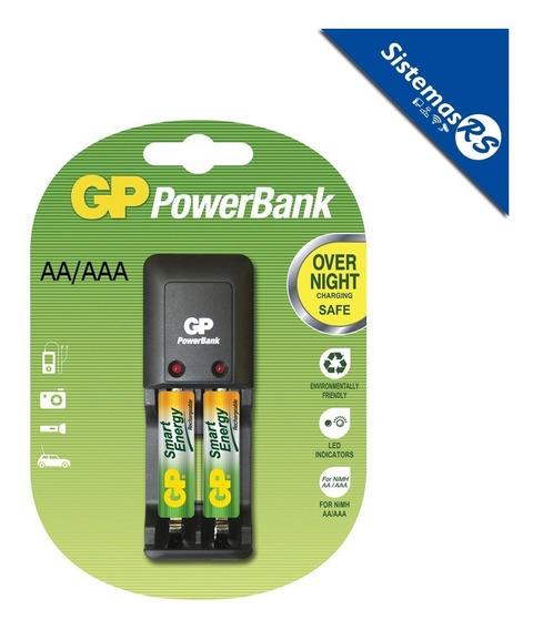 Powerbank Cargador Gp Aaa/aa + 2 Bateria Aaa Recargable Pila