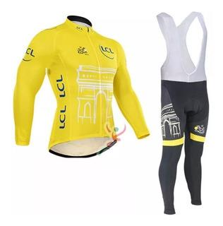 Uniforme De Ciclismo Camiseta Manga Larga Badana Gel 9d