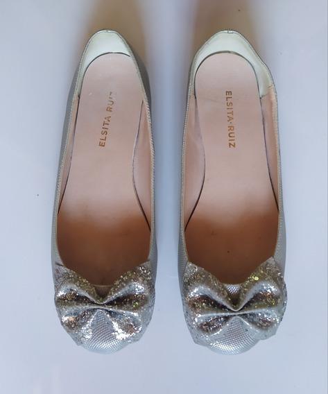Zapatos Chatitas Nena Plateadas Con Brillo Y Moño